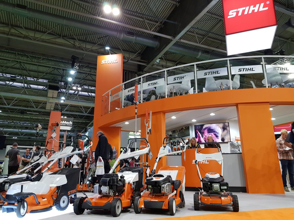 STIHL mowers on display stand at SALTEX 2019